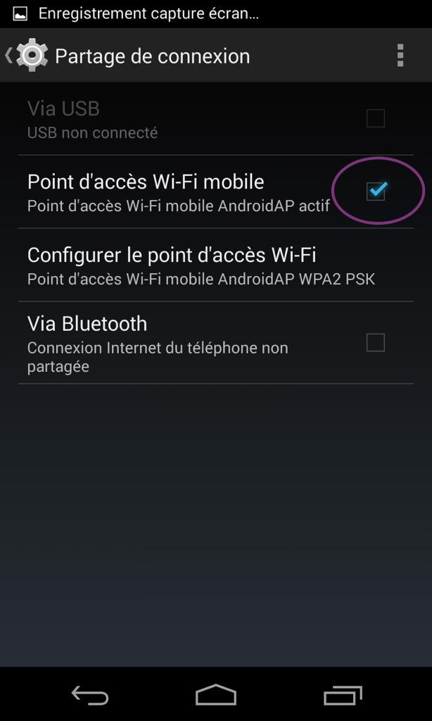 partage de connexion android 4.4.2