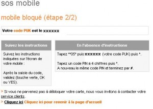 procédure orange code PUK